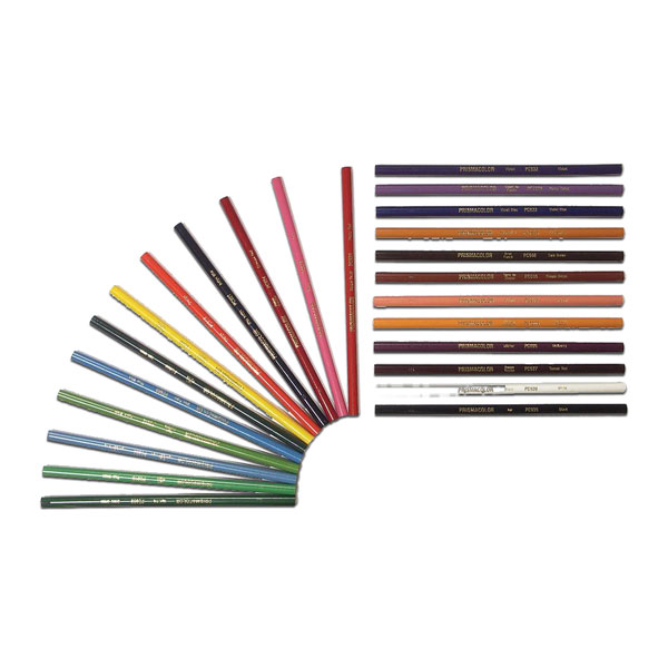 Prismacolor pencils are known for clear, bright colors of thick lead. Color goes down smoothly from long wearing points. A round pencil with bright, vivid colors that match Prismacolor Markers. By Berol
