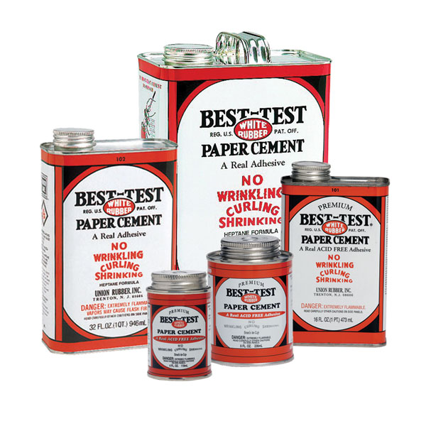 Best-Test rubber cement is made from a special premium quality of natural crude rubber, treated and blended to a formula which is one of the finest products for paper joining. For every paper joining need; photo mounting, layouts, dummies, masking, etc. There is never any curling, wrinkling or shrinking.