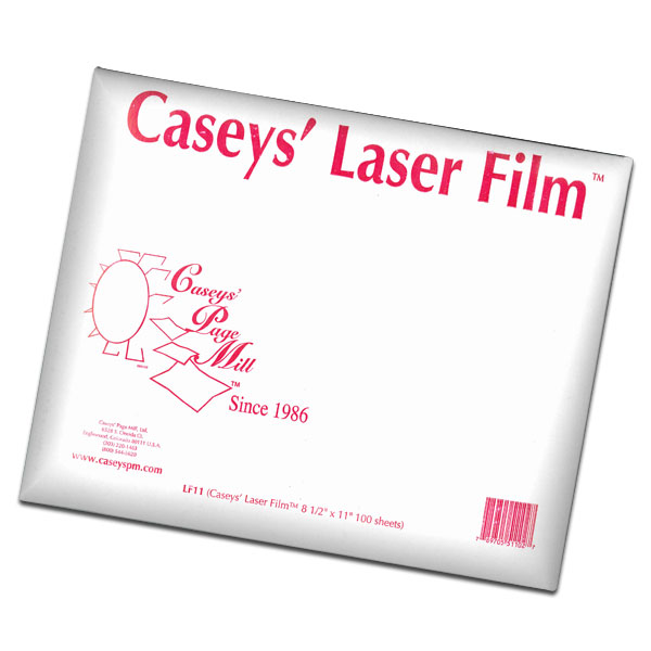 <p>CASEYS&apos; LASER FILM is a high-quality polyester designed for laser printers and copiers. Screenprinters use Laser Film when they need to tile large areas which require the physical strength of polyester. Pad Printers use Laser Film to create crisp clear images. This is an inexpensive alternative to using a camera.</p>