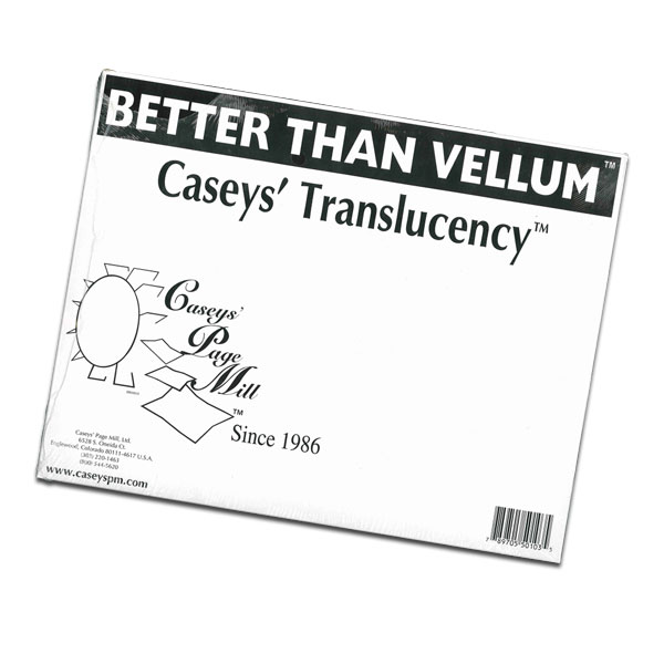 <p>CASEYS&apos; TRANSLUCENCY is a high-quality vellum like paper designed for laser printers and copiers. Screen Printers use this laser printer output as a positive for burning screens. This is an inexpensive alternative to using a camera and film. Why? Because Caseys&apos; Translucency is less expensive than film and saves the cost of a camera. Caseys&apos; is also more durable and more stable than other vellums, meaning it won&apos;t shrink and wreck your separations. </p>