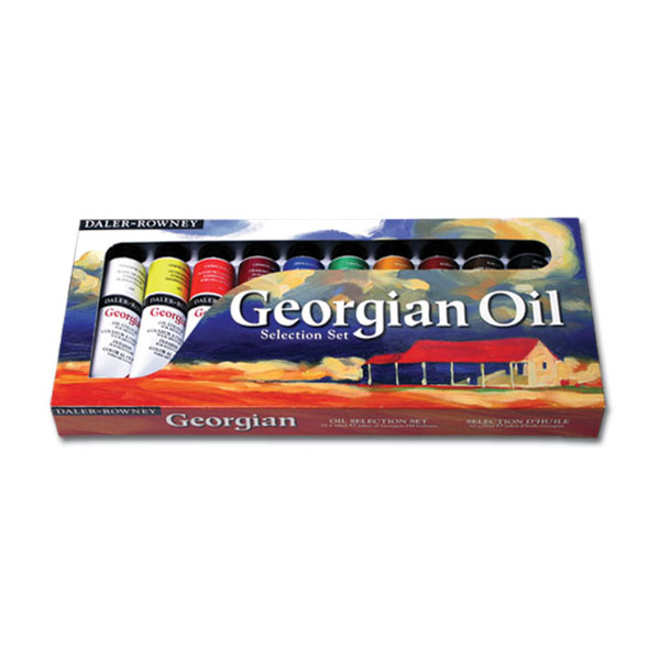 A popular oil painting selection of (10) 38 ml tubes of oil color in a full color box. Includes the following colors:<br /><br /> Titanium White<br /> Lemon Yellow<br /> Raw Umber<br /> Cadmium Red Hue<br /> Crimson Alizarin<br /> French Ultramarine<br /> Viridian<br /> Yellow Ochre<br /> Burnt Sienna<br /> Ivory Black<br />