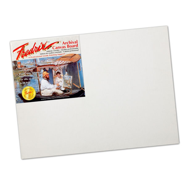 <p>Fredrix Archival Cotton Canvas Board is a professional grade, archival painting surface with medium texture canvas mounted on an acid free board. Good for acrylic, oils and mixed media.In individual packages.</p>