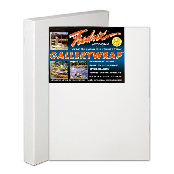 "<p>Fredrix Gallerywrap Canvas is a medium-textured, superior quality duck canvas. The acid free double acrylic primed surface is suitable for paintings in oils, acrylics, or alkyds. The canvas is mounted on 1-3/8"" heavy-duty stretcher frames for double the standard thickness. The canvas is stapled on the back to allow painting on all sides. It can hang with or without a frame. Some larger sizes have either cross braces or corner braces.</p>"