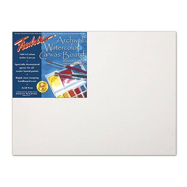 Fredrix Watercolor Canvas Archival Board is a 100% cotton artist canvas which combines the texture of a natural, woven fabric with a  specially formulated gesso designed for all water-based paints. The canvas is mounted with acid-free adhesive onto tempered hardboard that is guaranteed not to warp or rot. It is versatile and durable. You can lightly lift out pigment or completely wash out your painting surface without damaging the canvas surface. Individually shrink wrapped, 12 per ctn.