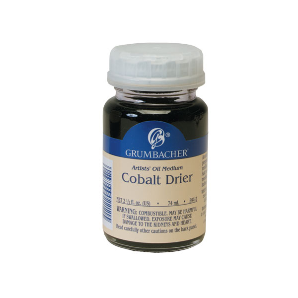 A drier makes oil paint dry faster by accelerating oxygen absorption. This ages the paint film and  can make it become dark and brittle, encouraging cracking. Problems are increased by overuse. All driers should be used  very sparingly, and are not recommended for fine art use. <br /><br /> This cobalt linoleate drier is made of cobalt salt cooked in  linseed oil. Considered to be the most reliable of driers.