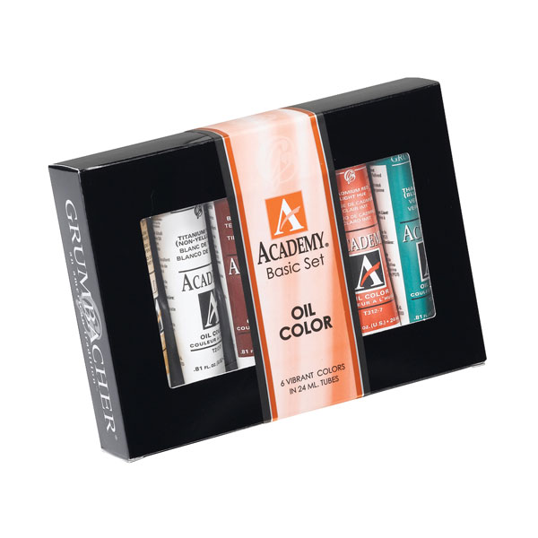 (6) tubes of Academy oil color with assorted literature in a  full color attractive box. Includes the following colors:<br /><br /> Cadmium Red Light Hue<br /> Cadmium Yellow Medium Hue<br /> Thalo Blue<br /> Thalo Green<br /> Thio Violet<br /> Titanium White