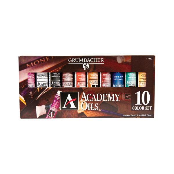 Contains 10 colors in .81 oz (24 ml) tubes. Includes a #4 white bristle brush and the following colors:<br /><br /> Burnt Sienna<br /> Burnt Umber<br /> Cadmium Red Light Hue<br /> Cadmium Yellow Medium Hue<br /> Ivory Black<br /> Phthalo Blue<br /> Phthalo Green (Blue Shade)<br /> Thio Violet<br /> Yellow Ochre<br /> Titanium White