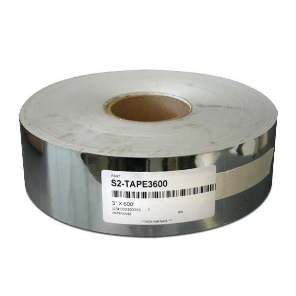 A 2.0 mil silver metallized, not-top coated polyester tape with a removable acrylic adhesive and a 90lb layflat liner. Very durable and very thin compared to conventional tapes. Ideal for hot melt screens and protecting screens from abrasion. 3&quot; x 600&apos; roll, 9 per case. <br /><br /> <span style=color:red>Click &quot;Read More&quot; below to see tape comparison chart.</span>