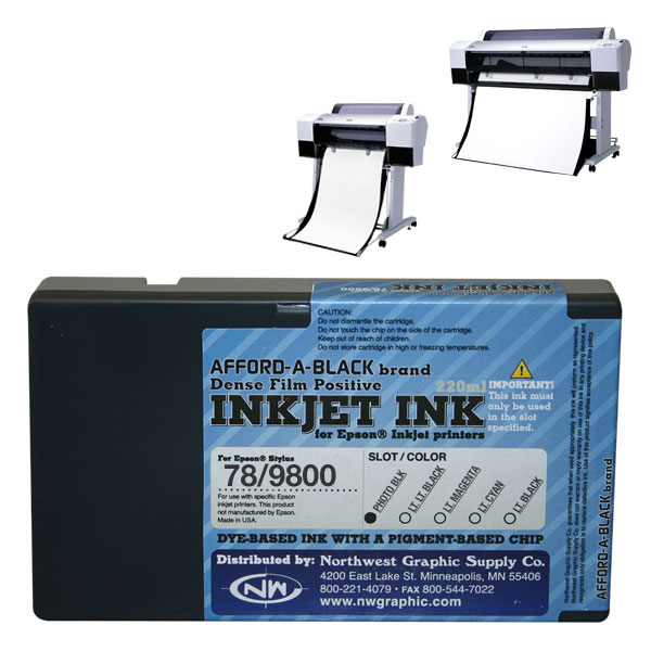 Inkjet ink for film positive printing. Dye-based ink with a pigment-based chip.