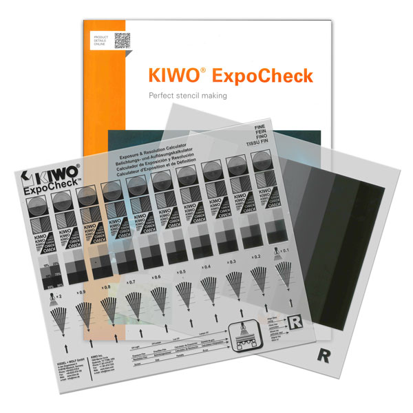 KIWO's exposure calculator separates the exposure test film from the resolution test film. The KIWO ExpoCheck consists of one exposure test film with ten neutral density filters, and three resolution test films with different levels of detail: coarse, medium and fine. The three different resolution films allow the printer to customize the exposure  test to the printing application requirements. By combining  the exposure test film and one of the resolution test films, simultaneous evaluation of exposure and resolution is achievable.