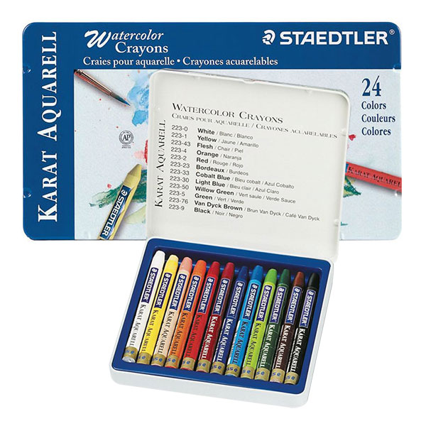These colored crayons have brilliant, intense colors. All 24  colors allow you to draw with smooth, even color application, on rough or  fine toothed papers. With a brush and water, these colors can become soft  washes, deep shadows, or solid areas of color. In tin boxes.