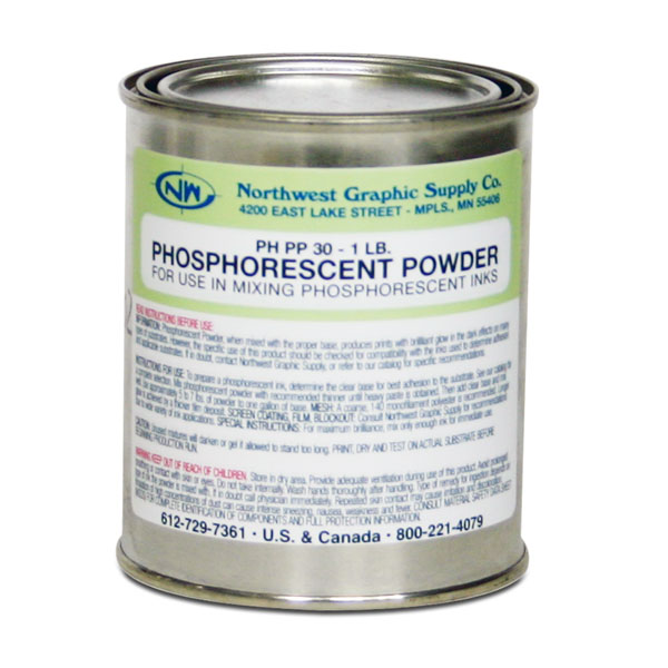 "Phosphorescent Pigments (Glow-in-Dark) produce unusual      ""glow-in-the-dark"" effects.  PP-30 is a light green pigment in the daylight with a green after glow; mix 5-7 lbs. per   gallon with clear base. Refer to individual ink line pages  for correct base for use. Coverages up to 300 square feet   per gallon through a 140 monofilament mesh. The length of   time the after glo lasts depends on the amount of pigment   deposited. PP-30 is a compliance pigment.  Store pigments   only in glass or polyethylene containers and use a glass or wood stirrer as metal affects the glow. (30 micron) See the ""Read More"" for mixing instructions. Sold in 1 lb.  containers."