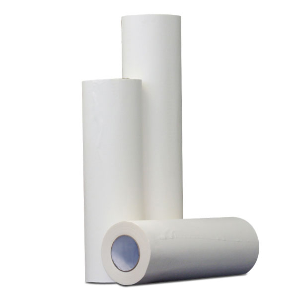 These are rolls of adhesive backed paper that are used to cover a platten while adhesive is applied to the paper. This  makes for easy removal of excess ink, adhesive and lint. Available in 100 yard rolls with a smooth surface.