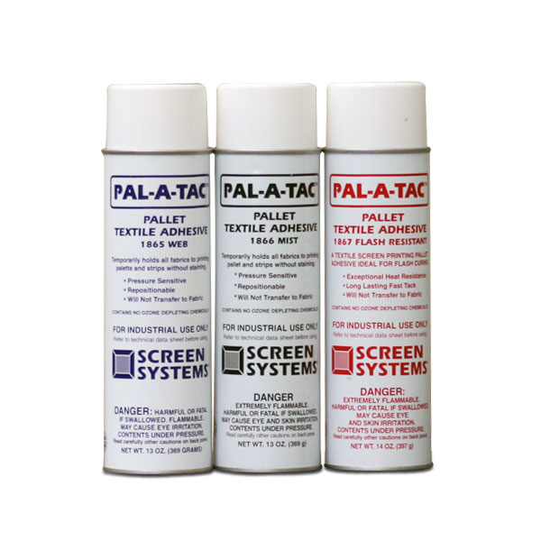 <p>Environmentally Friendly Palette Adhesive! Pal-A-Tac is a quick drying translucent, web spray which provides temporary adhesion for holding textile fabrics to the printing palette and is ideal for fleece fabrics. Strong and  waterproof, Pal-A-Tac assures accurate registration and excellent print quality. It will not transfer to fabric nor will it allow shifting of the material(s) during the screen printing process, making it ideal for heavier type fabrics. Printing can immediately follow application of Pal-A-Tac as it dries instantly on the palette. After printing, fabrics strip away quickly without staining. Surfaces sprayed with Pal-A-Tac may accumulate dust and lint, but it is easily reactivated with water using a lint free cloth. Applications  to flexible stock permits folding. Available in 12 oz net (20 oz. gross) aerosol cans, 12 per carton. Pal-A-Tac contains no methylene chloride</p>