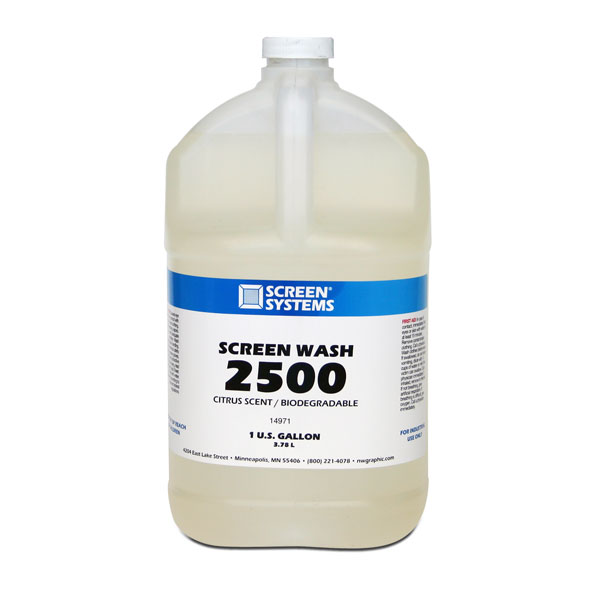 Screen Systems 2500 is a safe, water soluble,  biodegradable solvent for the cleaning of almost all residual inks from screens and tools. It completely dissolves inks,  even if they have thoroughly dried in the screen. Drys slowly providing long working time. Removes solvent-based, UV, Plastisol inks, and uncured solder masks. Contains no chlorinated solvents or chelants and can be put down the drain in accordance with local regulations.