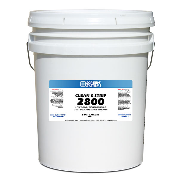 <p><strong class=&quot;ink&quot;>MIX 2 PARTS WATER TO 1 PART 2800</strong class=&quot;ink&quot;>Remove ink residue and the stencil all in one easy step. For use in all types of dip tanks. Mix two parts of water to one part of this concentrate to fill the Dip Tank. Removing direct emulsion, and ink residue from your screens - fast and easy. Odor-free and safe for the environment. For plastisol only. </p>