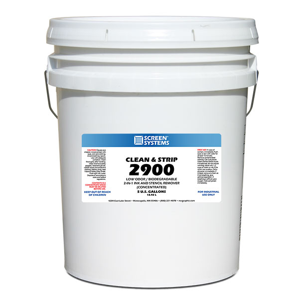 <p><strong class=&quot;ink&quot;>MIX 10 PARTS WATER TO 1 PART 2900</strong class=&quot;ink&quot;>Remove ink residue and the stencil all in one easy step. For use in all types of dip tanks. Mix ten parts of water to one part of this concentrate to fill the Dip Tank. Removing direct emulsion, and ink residue from your screens - fast and easy. Odor-free and safe for the environment. For plastisol only. </p>