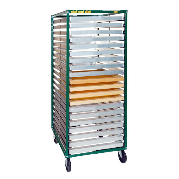 <p>A fully adjustable screen rack designed to hold 25 frames  from 15&#34; to 46&#34; in width. The sturdy storage system  has 3&#34; rubber casters and has angled frame supports to minimize contact to coated screens. Ships UPS at 40 lbs.<br><br> <p>The Rollin&apos; Screen Racker provides a safe place for drying and storing screens with the convenience of mobility.  It features adjustable width, easily accommodating all screen frames. The deep shelves can support any length screen.<br><br> Costs are reduced with the Rollin&apos; Screen Racker because a quantity of screens can be processed in one area, then easily moved to another area for drying. Screens can be in multiple stages of processing, including storage, on different Rackers.<br><br> Production is better organized when screens are stored in a mobile rack.</p> <BR> <p style=color:red>$25.00 packing fee REQUIRED, please add to cart below.</p>