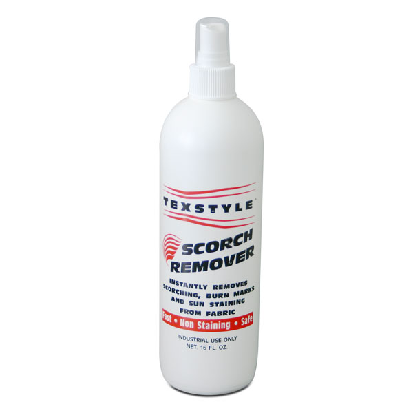 <p>TEXSTYLE Scorch Remover, instantly removes light to  medium scorching from tees and sweats. It is simply sprayed  on the scorched areas and then the garment is run back through the dryer. It even works on sun discoloration. Its that simple. No more lost &#36;&#36; due to scorching.</p>