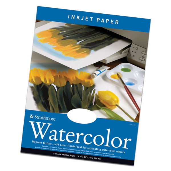 "A true watercolor paper with a medium texture cold press finish. It has a matte coating (one side) for inkjet receptivity and is ideal for producing prints with the look and feel of a watercolor painting. 8.5"" x 11"", 8 sheets per pkg."
