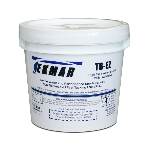 <p>TEKMAR TB-EZ is the first Pallet adhesive developed specifically for use with the new polyester Performance Fabrics. <br><br> It has high strength and will not loose it&apos;s tack even during repeated flashing. Performance fabrics contain silicones and Teflon additives that can cause premature release on other Adhesive. TB-EZ is formulated to temporarily bond with the fabric fibers and hold the garment  until unloaded. <br><br> It is manufactured using synthetic polymer acrylic compounds  that were developed for specialized applications such as these. TB-EZ is designed to be sprayed through an adhesive applicator such as the TARGET SYSTEM TB 500 or TB 1000. It affords tremendous hold down for all performance fabrics along with tee&apos;s and sweats and has a tack time that rivals aerosol solvent based adhesives.</p>