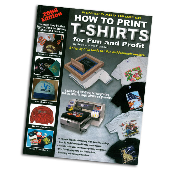 This handbook offers excellent technical guidance for the   beginning T-shirt printer. Included plans to build a        one-color T-shirt printer for less that $30.00, a vacuum    table for heat transfers, curing oven and other equipment.  Written by Scott and Pat Fresner