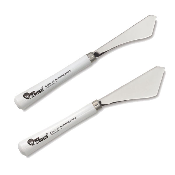 Developed and designed by Bob Ross, these unique knives have  many uses such as mixing or marbling, applying paint, scraping off excess color, scoring lines, etc.